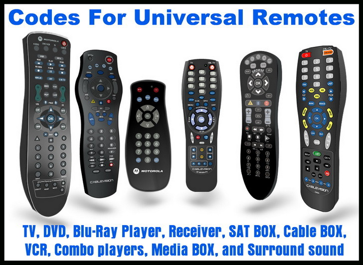 Remote codes for TV DVD AUDIO VIDEO