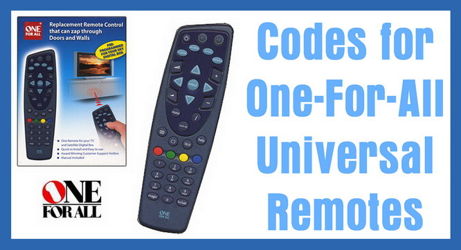 One For All Universal Remote Codes Codes For Universal Remotes