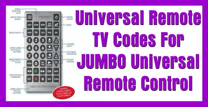 JUMBO Universal Remote Codes | Codes For Universal Remotes
