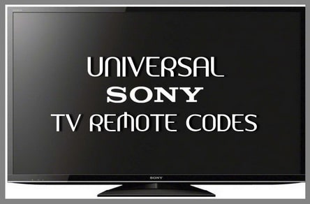 Universal Remote Codes For SONY TVs