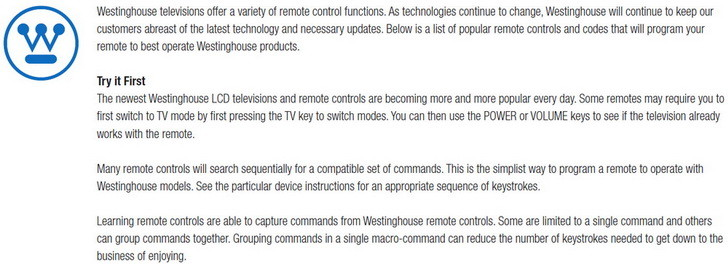 Remote Control Codes Westinghouse TVs | Codes For Universal