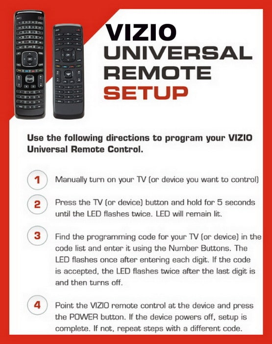 Vizio TV Universal Remote Setup Instructions With Remote