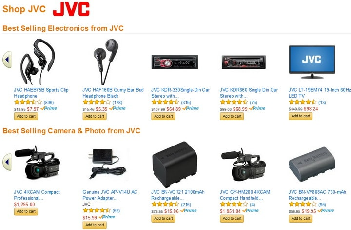 JVC best selling electronics