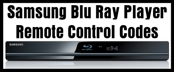 Samsung Blu Ray Player Remote Control Codes