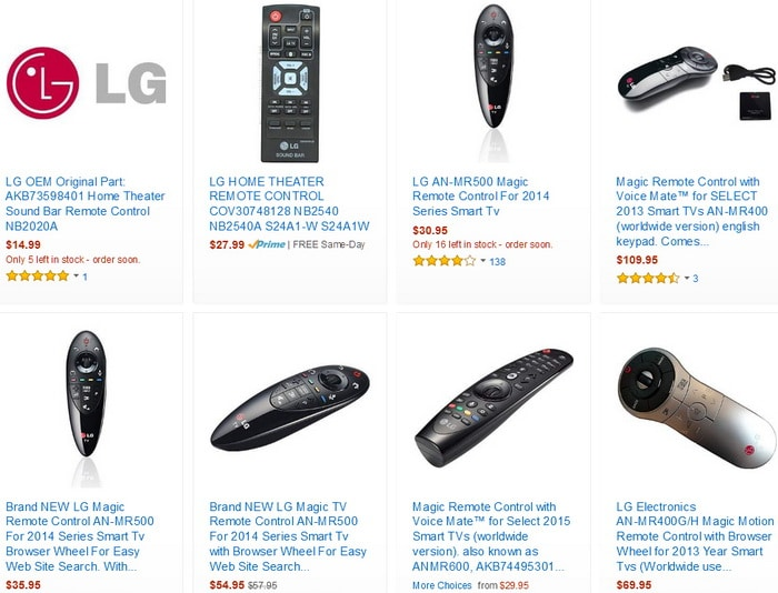 LG soundbar OEM remote controls