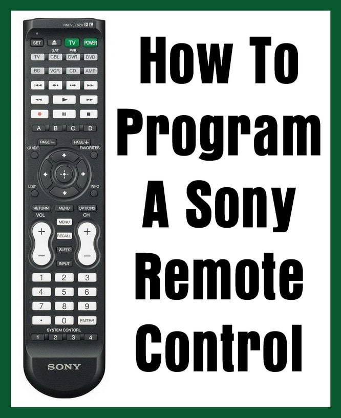 Sony Remote Control - How To Program