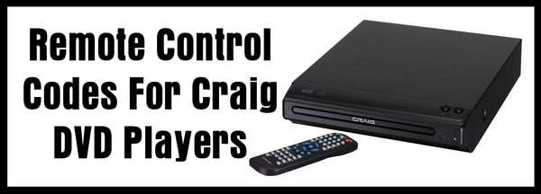 Craig DVD Player Remote Control Codes