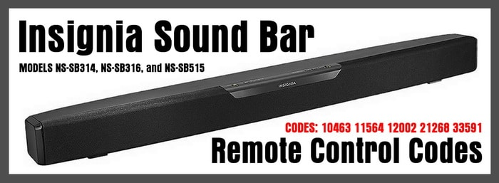 Insignia Sound Bar Remote Control Codes