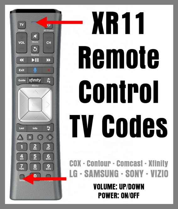 XR11 Remote Control TV Codes