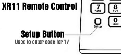 XR11 Remote SETUP Button Location