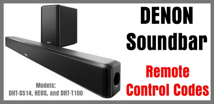 Denon Soundbar Remote Control Codes